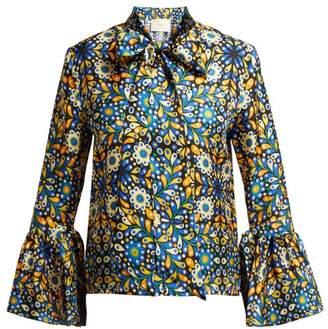 La Doublej - Happy Wrist Confetti Blu Print Silk Blouse - Womens - Blue Print
