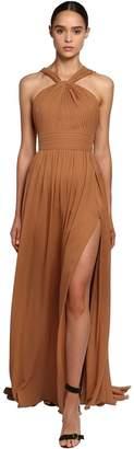 Elie Saab Crepe Georgette Long Dress