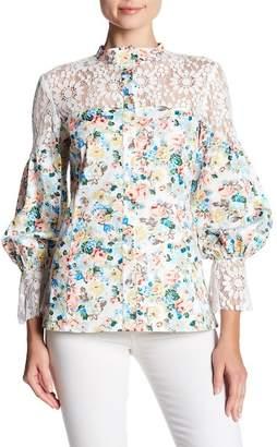 TOV Floral Lace Button Up Blouse