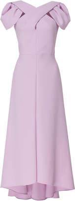 DELPOZO Crepe Crossed Neckline Dress