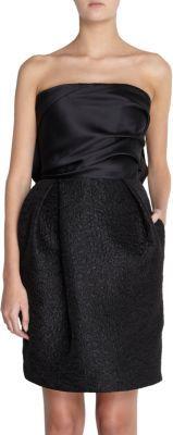 Lanvin Bow Back Brocade Skirt Strapless Dress