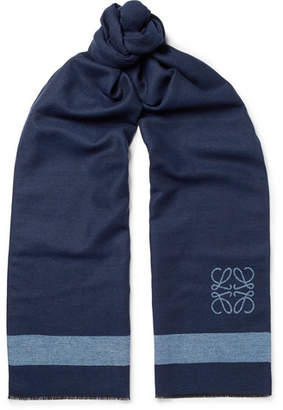Loewe Fringed Logo-Intarsia Wool and Silk-Blend Scarf - Navy
