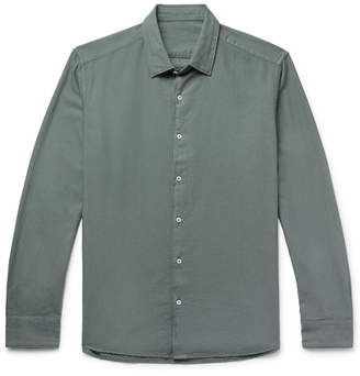 Altea Brushed Cotton-Twill Shirt - Gray green