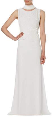 Raishma Ivory Peplum Evening Gown
