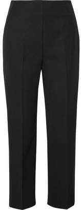 3.1 Phillip Lim Grosgrain-trimmed Wool-crepe Tapered Pants - Black