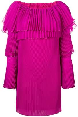 Capucci off-shoulder pleated sweater dress