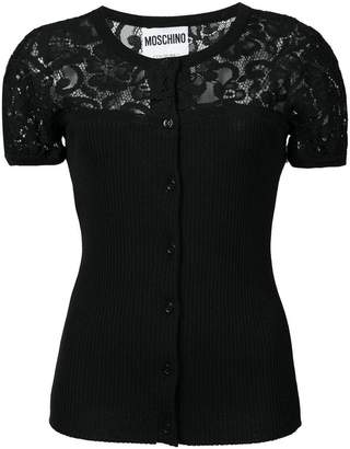 Moschino lace detail button cardigan
