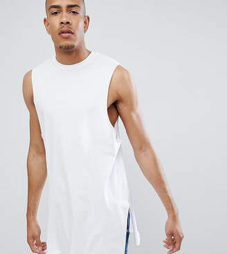 Asos Design Tall Super Longline Relaxed Singlet With Side Splits In White