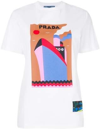 Prada logo boat-print T-shirt