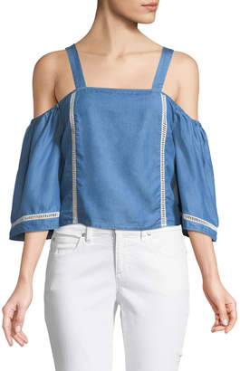 236ebc2fcb5044 Lovers + Friends Lovers And Friends Riptide Cold-Shoulder Chambray Blouse