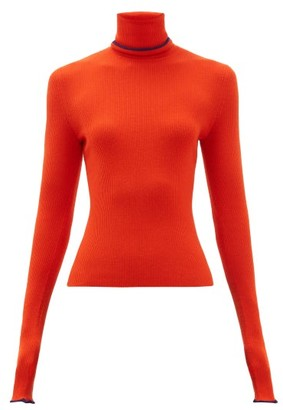 Barrie Rolling Edge Roll Neck Cashmere Sweater - Womens - Red Multi