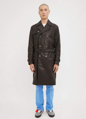 Off-White Logo Back Leather Trench in Black