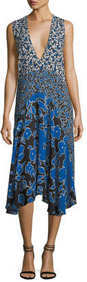 Michael Kors Plunging Sleeveless Georgette Mixed-Print Midi Dress