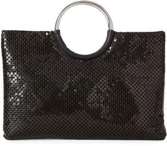 Jessica McClintock Black Sonia Metallic Top Handle Bag