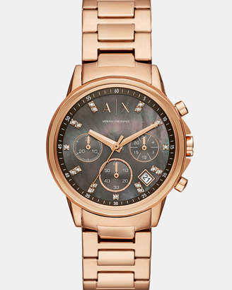 Armani Exchange Rose Gold-Tone Chronograph Watch