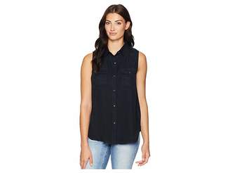 True Grit Dylan by Luxe Laundered Tencel Sleeveless Two-Pocket Shirt