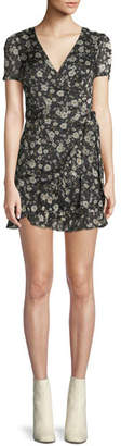 Donna Mizani Maya V-Neck Short-Sleeve Fitted Floral-Print Dress