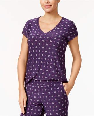 Alfani Printed Chiffon-Trim Pajama Top, Created for Macy's