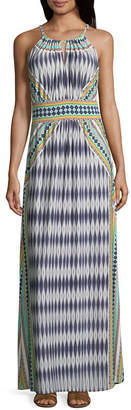 LONDON STYLE Sleeveless Pattern Maxi Dress-Petite