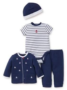 Baby Boy's Four-Piece Cotton Jacket, Bodysuit, Pants and Beanie Set