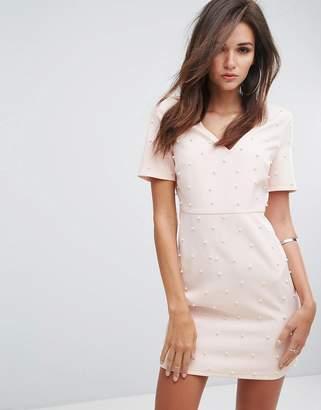 Fashion Union V Neck Bodycon Dress With Pearl Embellishment
