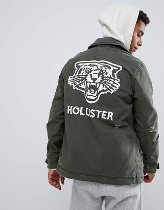 Hollister twill military overshirt jacket back logo print in olive green