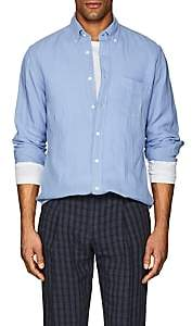 Hartford Men's Linen Button-Down Shirt-Blue