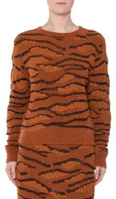 Stella McCartney Animal-Intarsia Crewneck Pullover Sweater