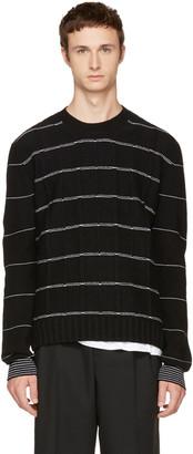 McQ Alexander McQueen Black Pinstripe Crewneck Sweater $355 thestylecure.com
