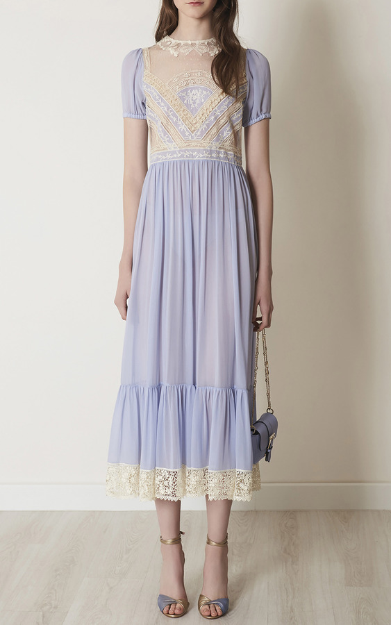 Red Valentino Silk Georgette Maxi Dress With Macram Ribbon 4