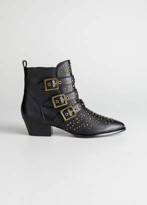 And other stories Trio Buckle Studded Ankle Boots