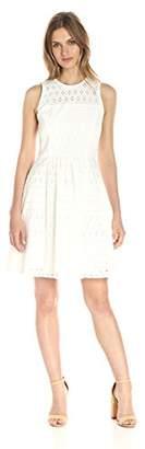 Lark & Ro Women's Sleeveless Eyelet Fit and Flare Dress