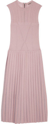 Bottega Veneta - Pleated Metallic Wool-blend Midi Dress - Antique rose $2,450 thestylecure.com