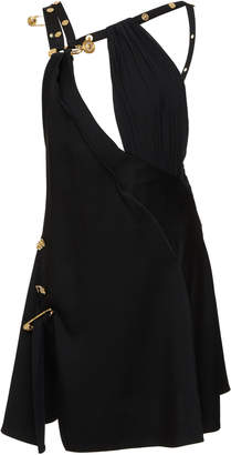 Versace Embellished Crepe De Chine Mini Dress