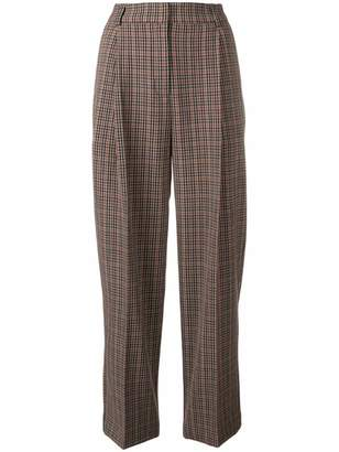 YMC checked cropped trousers