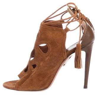 Aquazzura Suede Wrap-Around Sandals