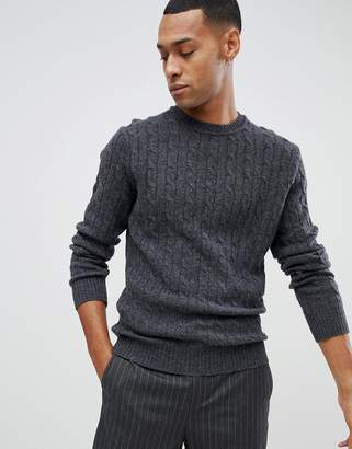 Moss Bros lambswool jumper with cable knit in grey