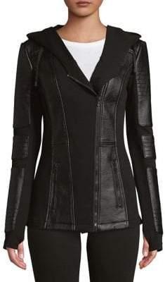 Blanc Noir Hooded Moto Jacket