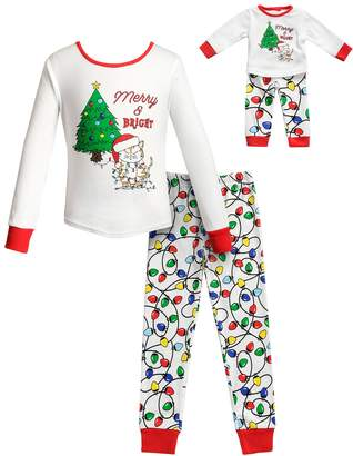 at kohl s a dollie me girls 4 14 merry bright christmas top bottoms pajama