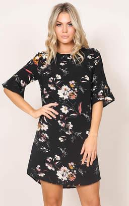 Showpo Eastern Sun shift dress in black floral - 14 (XL) The Floral