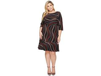 Sangria Plus Size Printed 3/4 Sleeve Dress Women's Dress