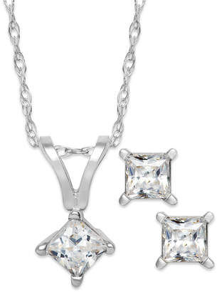 Macy's Princess-Cut Diamond Pendant Necklace and Earrings Set in 10k White Gold (1/10 ct. t.w.)