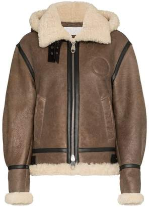 Chloé hooded shearling and leather aviator jacket