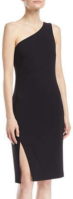 LIKELY Helena One-Shoulder Side-Slit Straight Crepe Dress