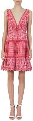 Jonathan Simkhai V-Neck Sleeveless Eyelet Embroidery Gathered Mini Dress