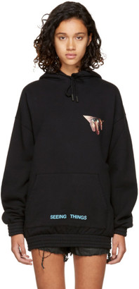 Off-White Black Oversized Eyes Hoodie $525 thestylecure.com