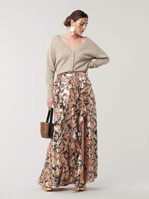 Diane von Furstenberg Salona Silk Wrap Maxi Skirt