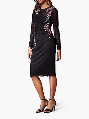 Karen Millen Floral Lace Pencil Dress, Black/Multi