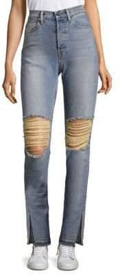 Distressed Split Jeans