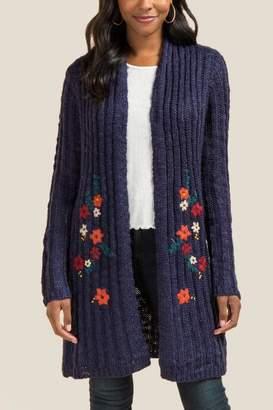 francesca's Jenna Floral Embellished Cardigan - Navy